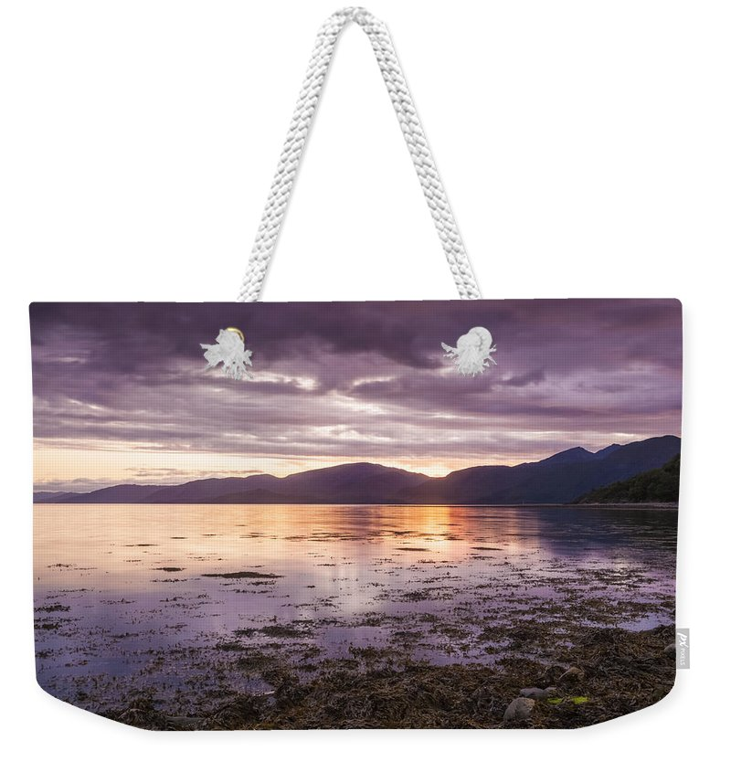 Linnhe Weekender Tote Bag featuring the photograph Loch Linnhe - The Last Rays Of The Sun. by Paul Cullen