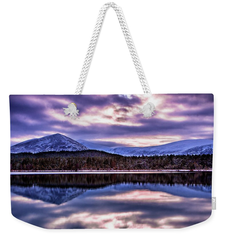United Kingdom Weekender Tote Bag featuring the photograph Loch Morlich by John Frid