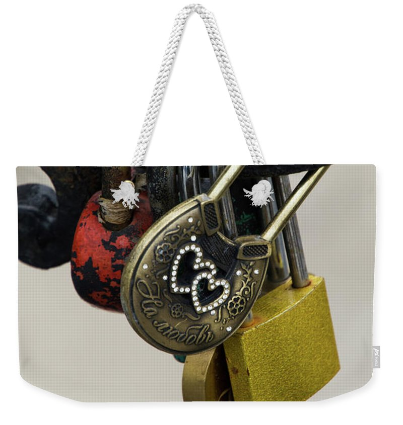 Russia Weekender Tote Bag featuring the photograph Lock With Rhinestones by Teresa Otto