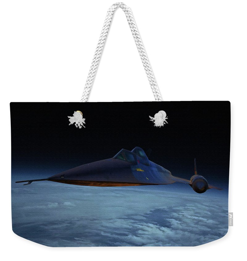 Lockheed A-12 Oxcart Weekender Tote Bag featuring the digital art Lockheed A-12 Oxcart Oil by Tommy Anderson
