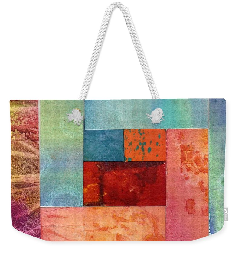 Abstract Weekender Tote Bag featuring the painting Log Cabin 1003 by Katherine Berlin