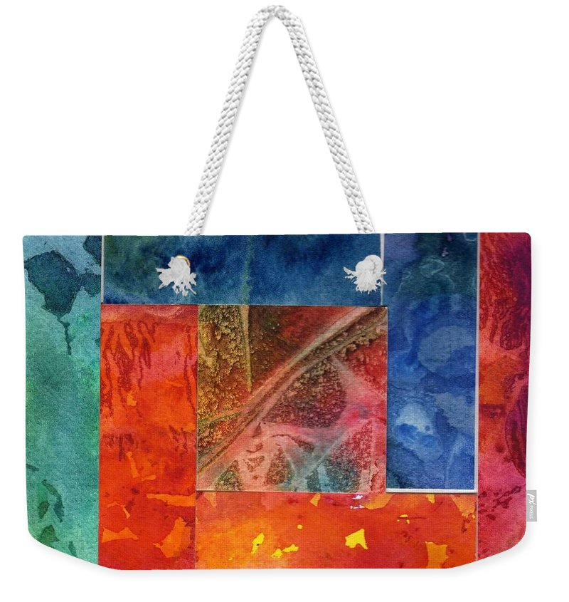 Abstract Weekender Tote Bag featuring the painting Log Cabin 5007 by Katherine Berlin