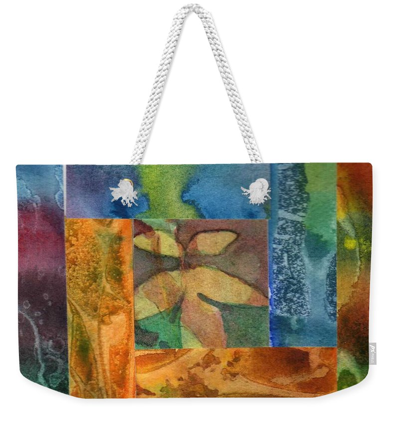 Abstract Weekender Tote Bag featuring the painting Log Cabin 6008 by Katherine Berlin