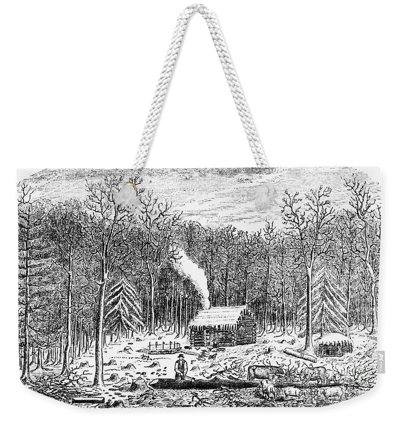 1790s Weekender Tote Bag featuring the photograph Log Cabin, C1800 by Granger