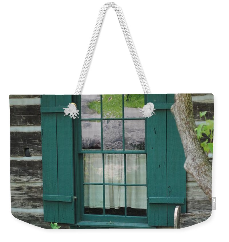 Log Weekender Tote Bag featuring the photograph Log Cabin Window by Jost Houk