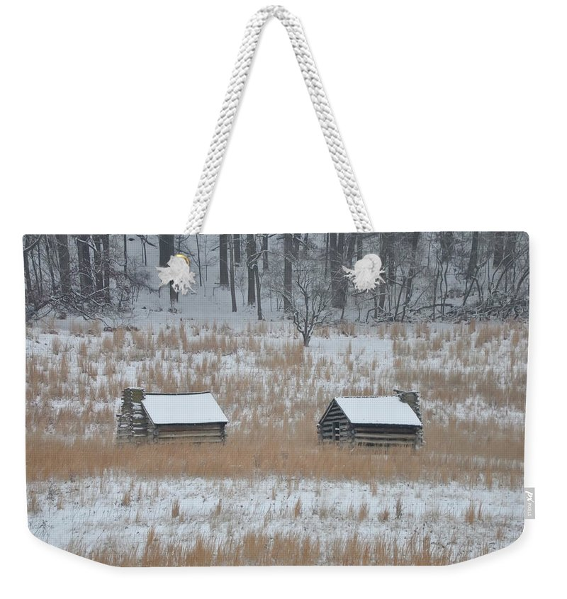 Log Weekender Tote Bag featuring the photograph Log Cabins In Valley Forge by Bill Cannon