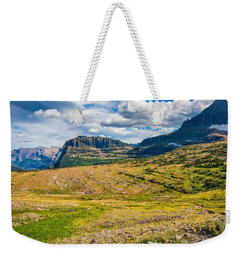 Landscape Weekender Tote Bag featuring the photograph Logan Pass Panorama by John M Bailey