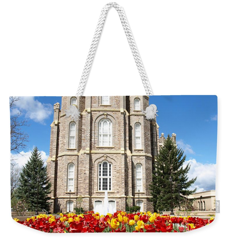 Temple Weekender Tote Bag featuring the photograph Logan Temple by DeeLon Merritt