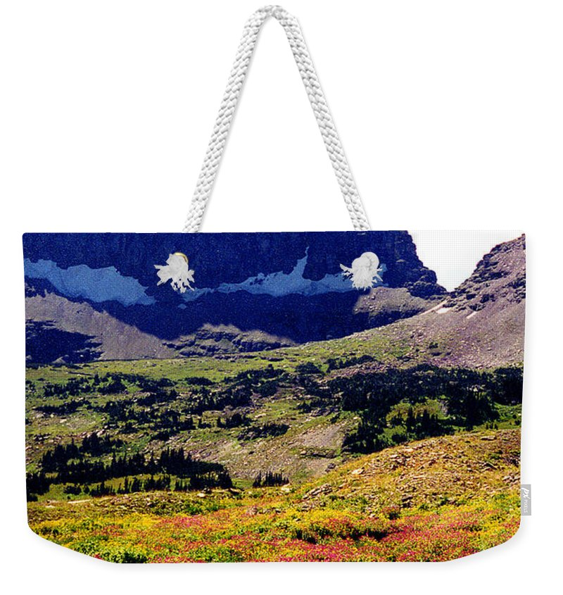 Glacier National Park Weekender Tote Bag featuring the photograph Logans Pass In Glacier National Park by Nancy Mueller