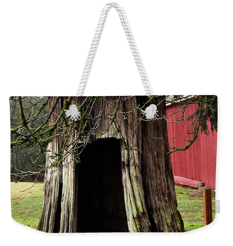 Clay Weekender Tote Bag featuring the photograph Loggers Outhouse by Clayton Bruster