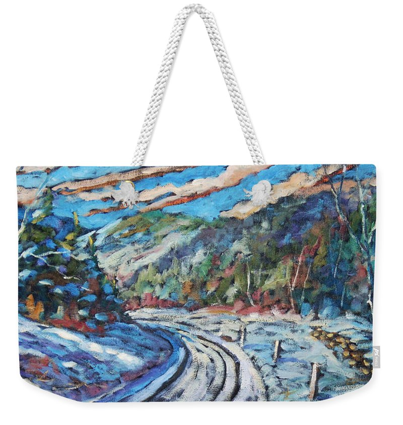 Loggers Weekender Tote Bag featuring the painting Loggers Road by Richard T Pranke