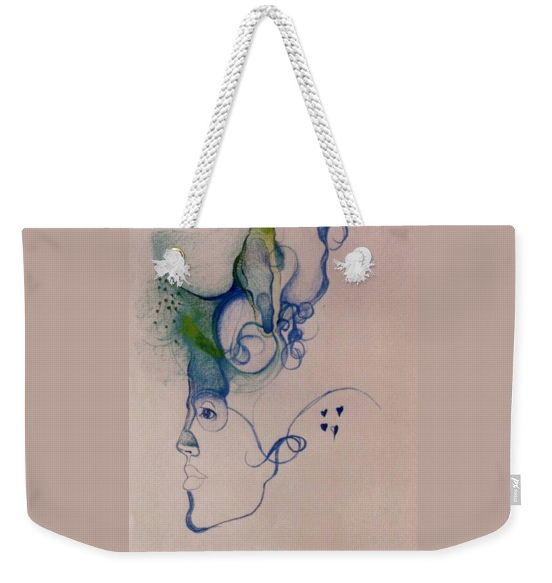 Drawing Weekender Tote Bag featuring the drawing Logical Thought by Karen Henninger