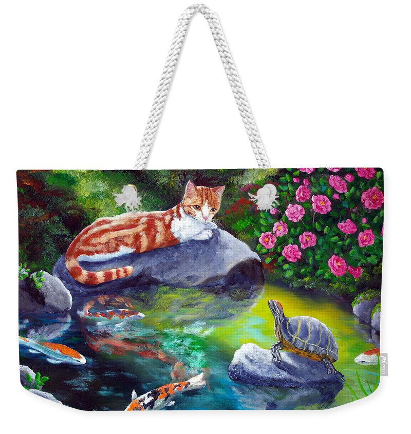 Cat Weekender Tote Bag featuring the painting Loki Meets A Turtle by Laura Iverson