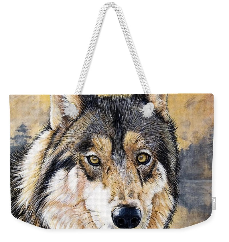 Acrylics Weekender Tote Bag featuring the painting Loki by Sandi Baker