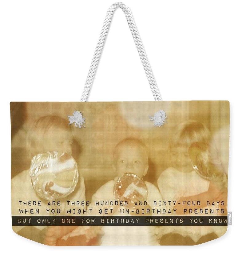 Happy Weekender Tote Bag featuring the photograph Lollipops Quote by JAMART Photography