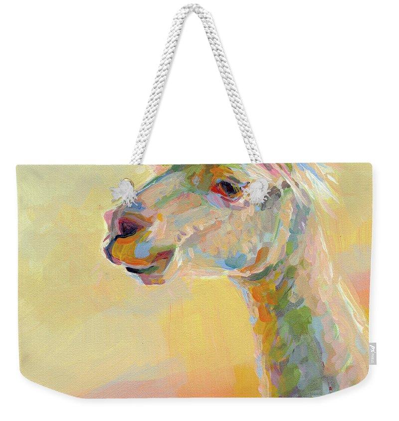 Llama Weekender Tote Bag featuring the painting Lolly Llama by Kimberly Santini