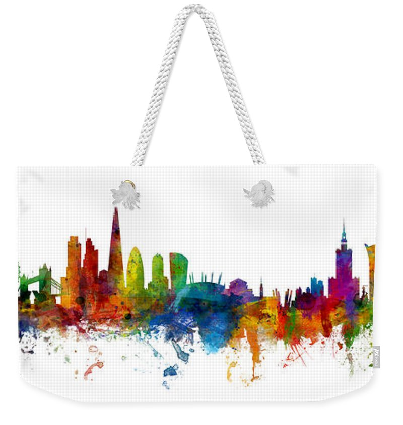 London Weekender Tote Bag featuring the digital art London And Warsaw Skylines Mashup by Michael Tompsett