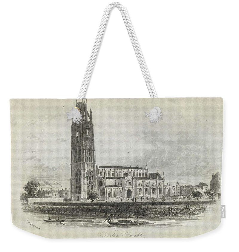 Nature Weekender Tote Bag featuring the painting London Boston Church. by Artistic Rifki
