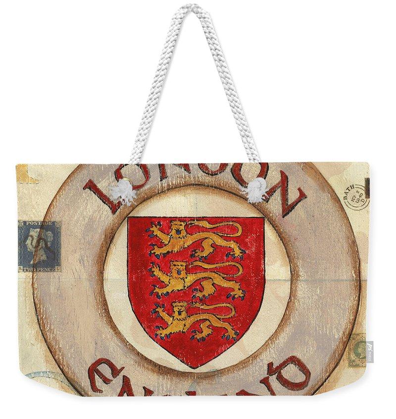 London Weekender Tote Bag featuring the painting London Coat of Arms by Debbie DeWitt
