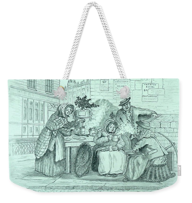 Pencil Drawing Weekender Tote Bag featuring the drawing London Coffee Stall by William Goldsmith