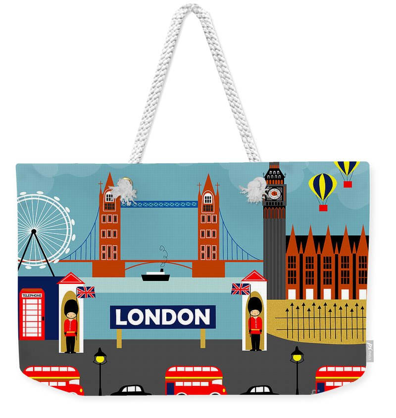 London Weekender Tote Bag featuring the digital art London England Horizontal Scene - Collage by Karen Young