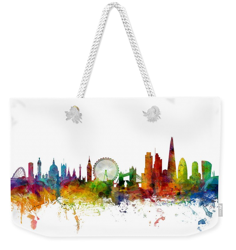 London Weekender Tote Bag featuring the digital art London England Skyline 16x20 Ratio by Michael Tompsett
