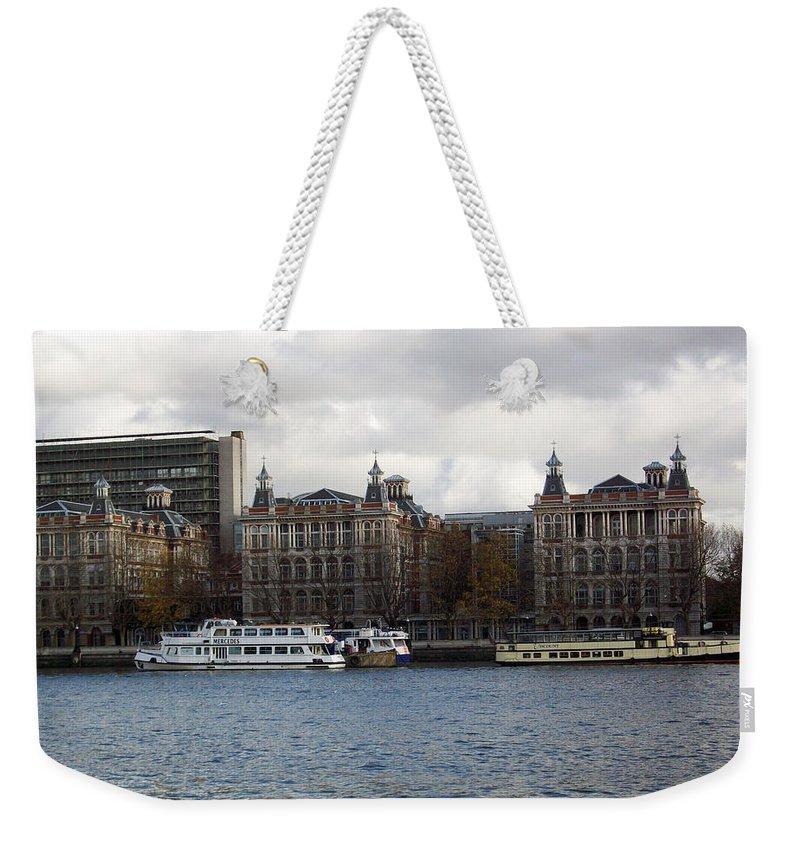 London Weekender Tote Bag featuring the photograph London Eye by Munir Alawi