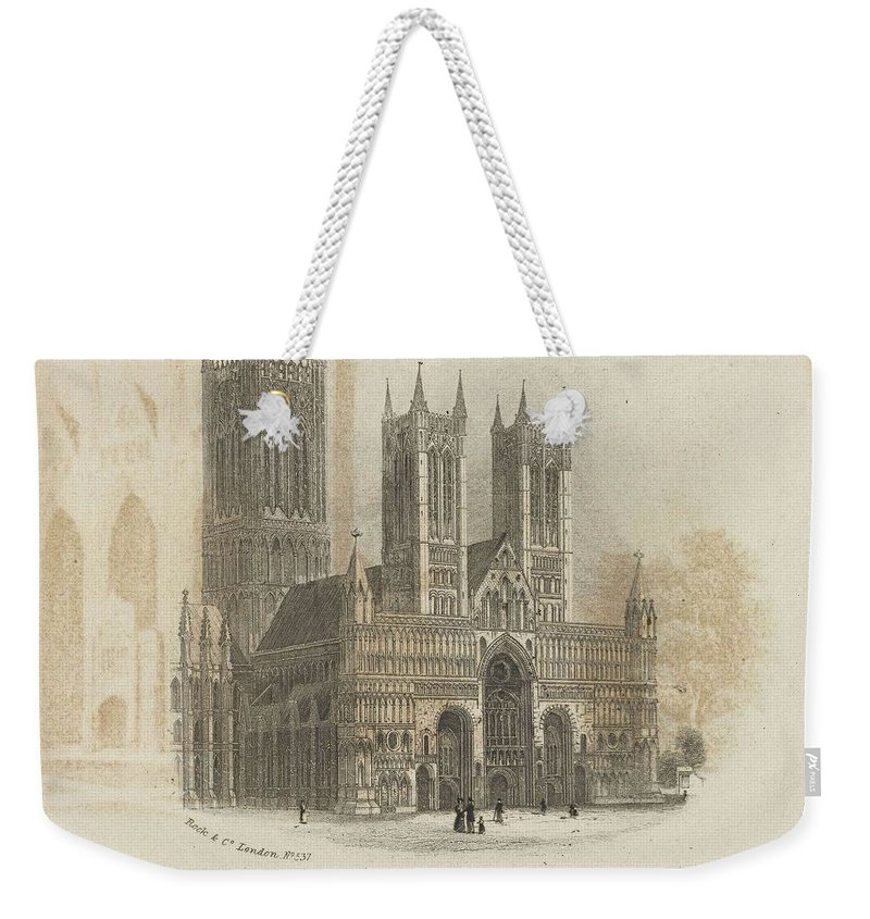 Nature Weekender Tote Bag featuring the painting London Lincoln Cathedral. by Artistic Rifki