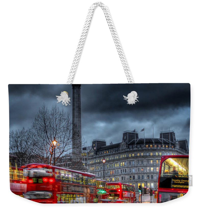 London Red Buses Weekender Tote Bag featuring the photograph London Red Buses by Jasna Buncic