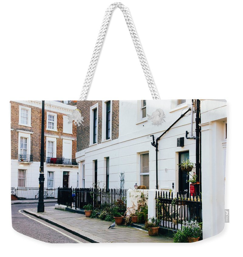 Street Weekender Tote Bag featuring the photograph London Residential Street by Pati Photography