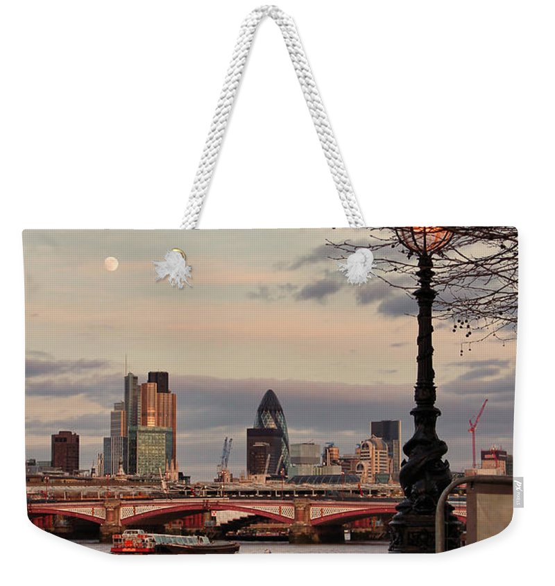 London Skyline Weekender Tote Bag featuring the photograph London Skyline From The South Bank by Jasna Buncic