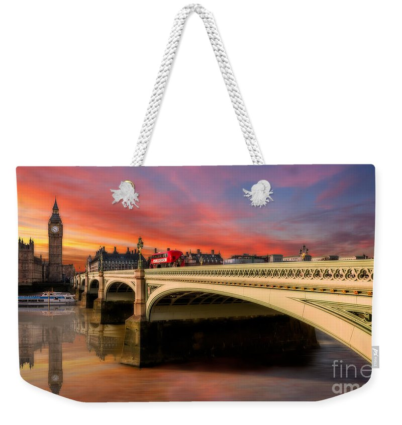Sunset Weekender Tote Bag featuring the photograph London Sunset by Adrian Evans