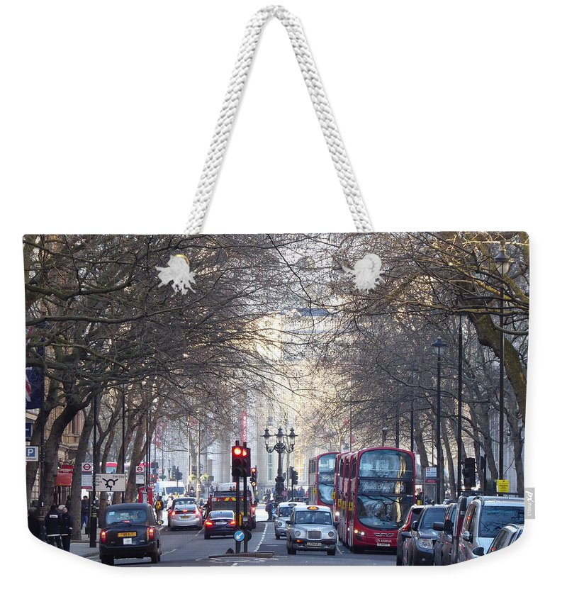 London Weekender Tote Bag featuring the photograph London Thoroughfare by Margaret Brooks