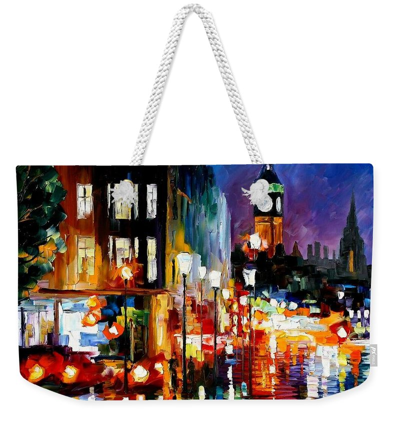Afremov Weekender Tote Bag featuring the painting London's Lights by Leonid Afremov