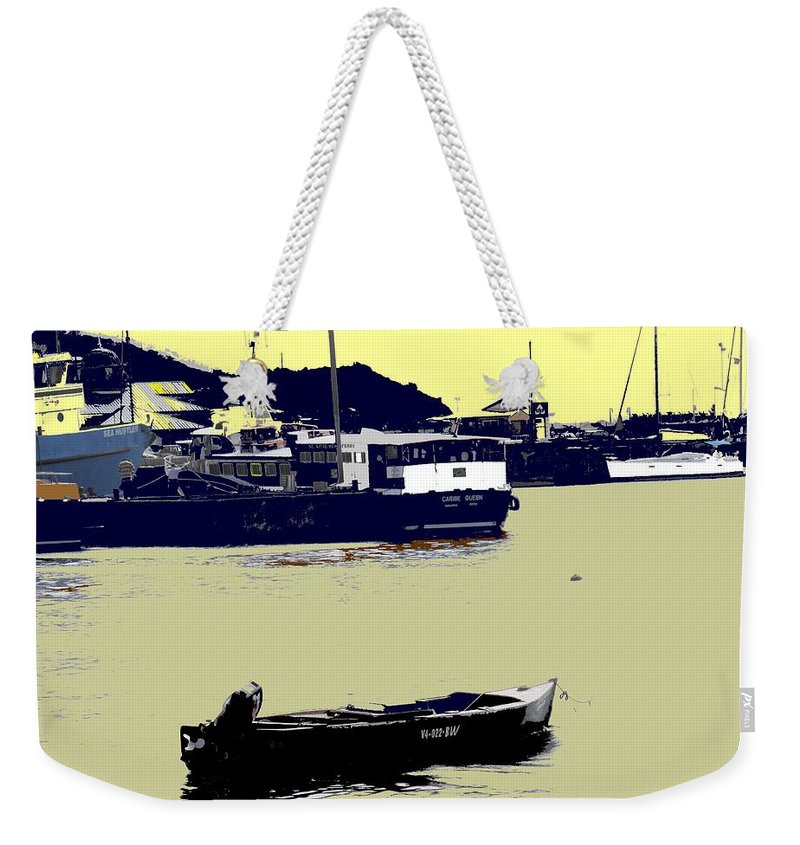 St Kitts Weekender Tote Bag featuring the photograph Lone Boat by Ian MacDonald
