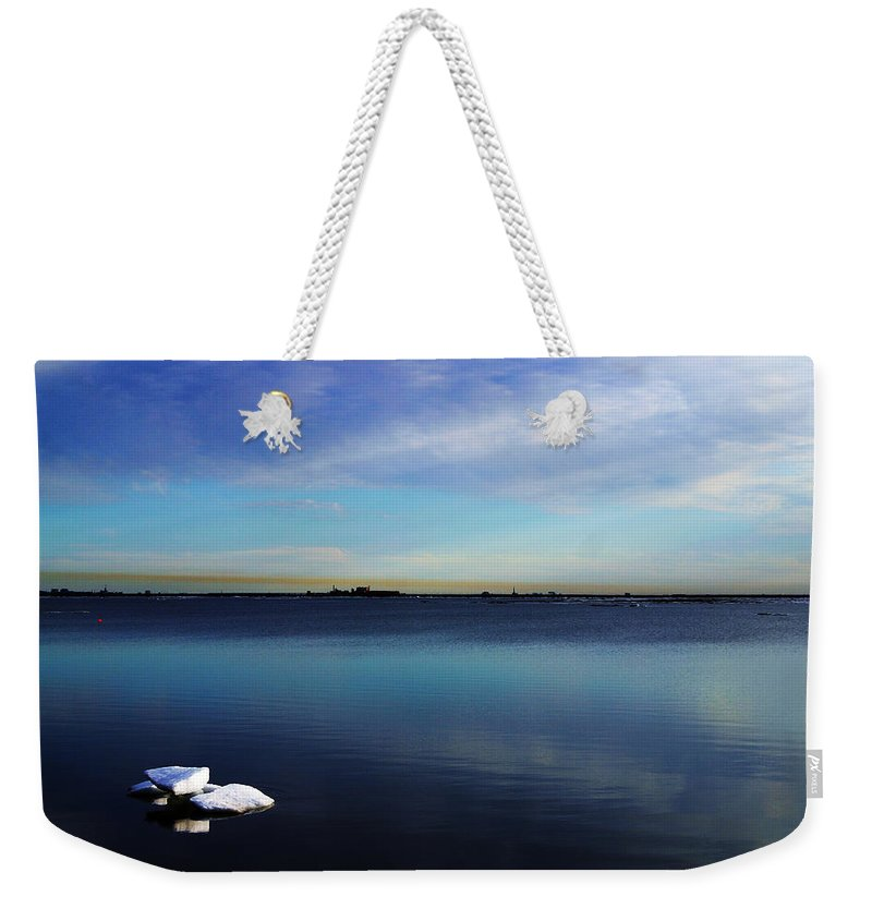 Landscape Weekender Tote Bag featuring the photograph Lone Ice by Anthony Jones