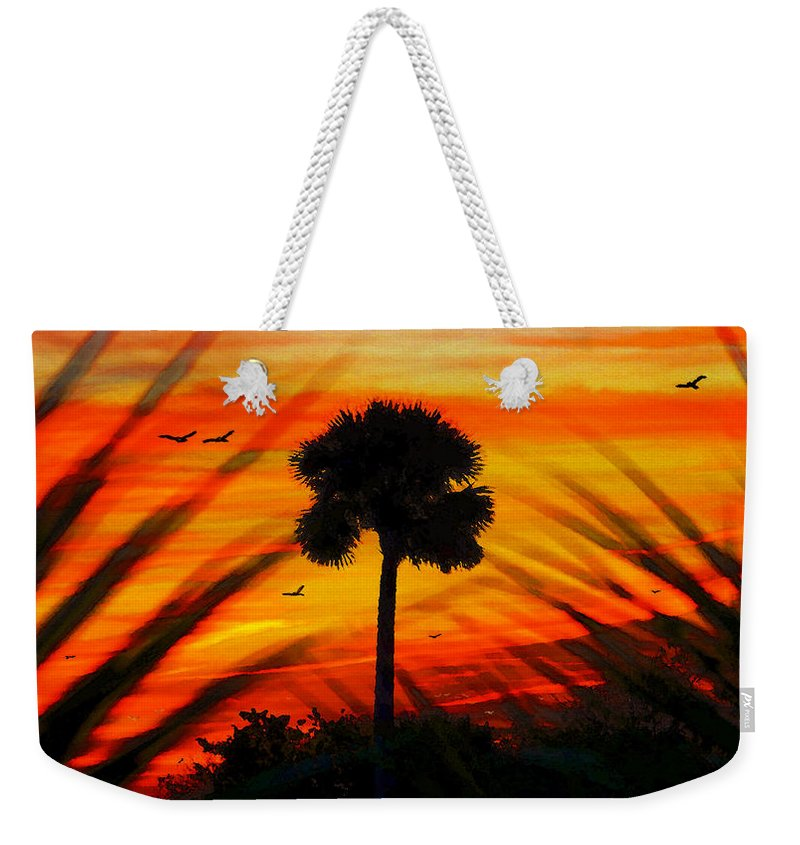 Palm Weekender Tote Bag featuring the painting Lone Palm Florida by David Lee Thompson