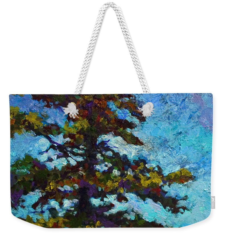 Trees Weekender Tote Bag featuring the painting Lone Pine II by Marion Rose