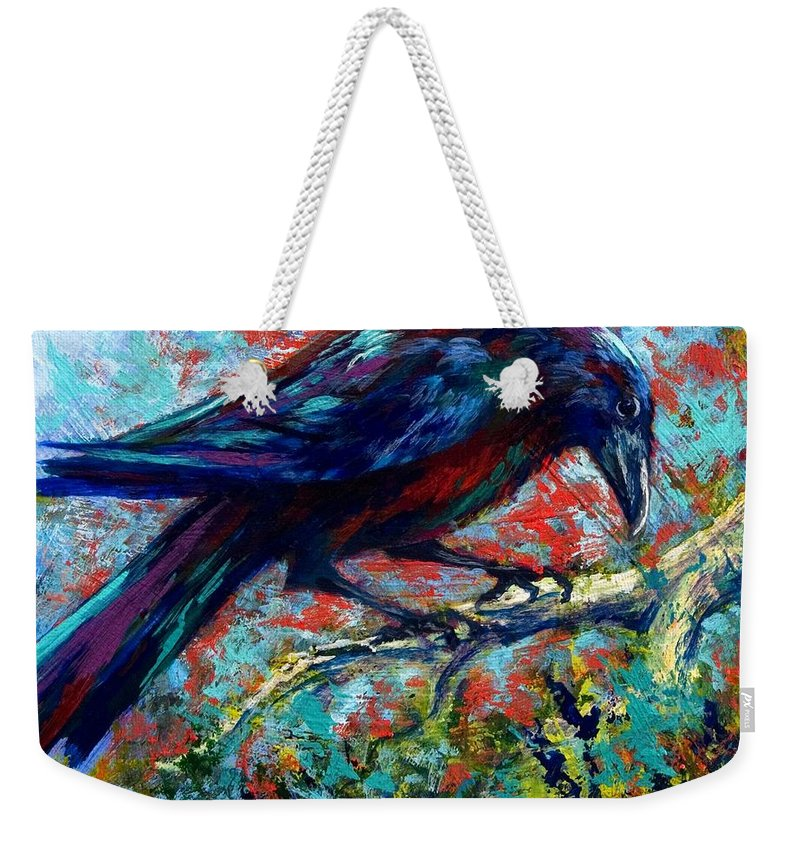 Crows Weekender Tote Bag featuring the painting Lone Raven by Marion Rose