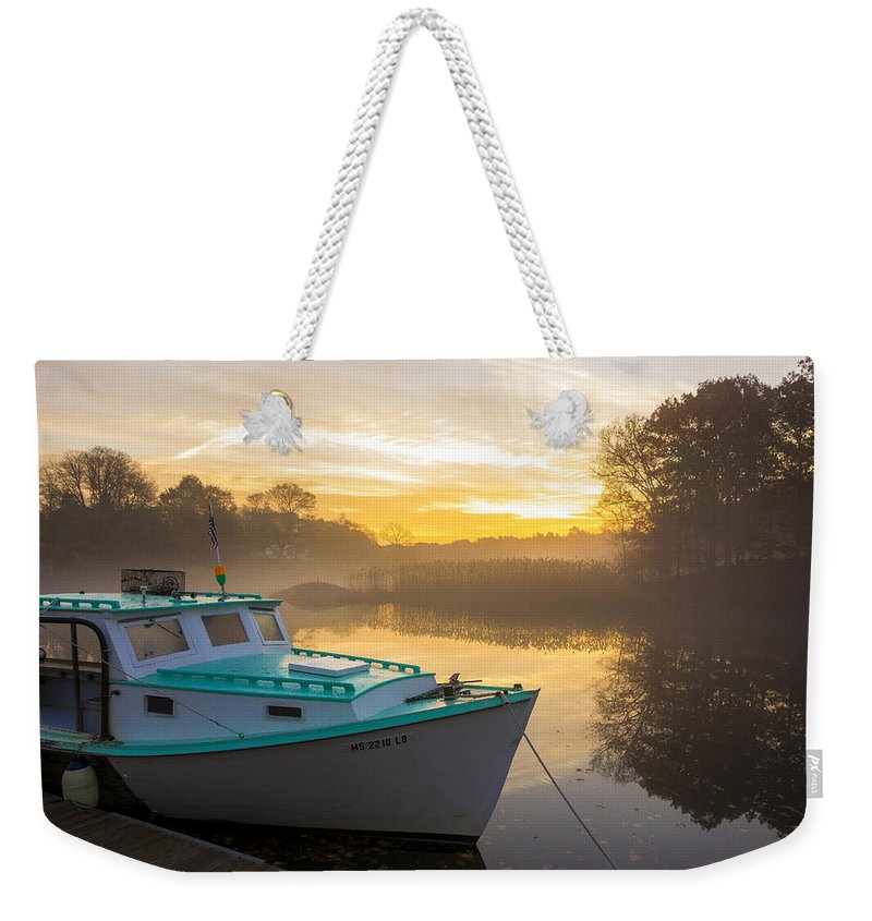 Weekender Tote Bag featuring the photograph Lone Shark At Dawn by David Stone
