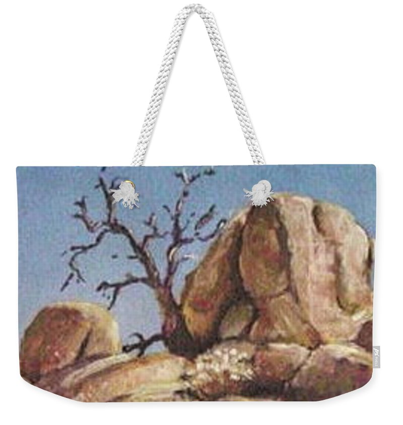 Rock Weekender Tote Bag featuring the painting Lone Tree by Susan Galassi