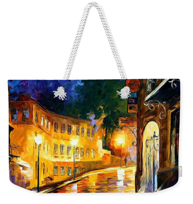 Afremov Weekender Tote Bag featuring the painting Lonely Night by Leonid Afremov
