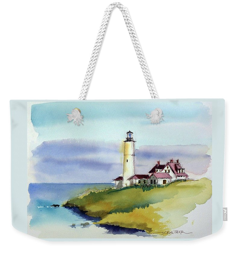 Marine Weekender Tote Bag featuring the painting Lonely Sentinel by John Crowther