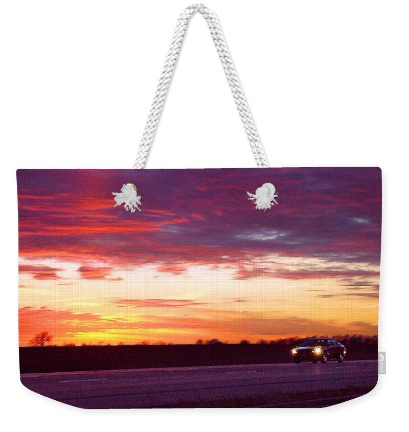 Landscape Weekender Tote Bag featuring the photograph Lonesome Highway by Steve Karol