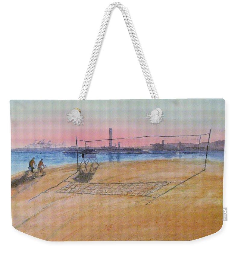 Watercolor Weekender Tote Bag featuring the painting Long Beach Icons by Debbie Lewis