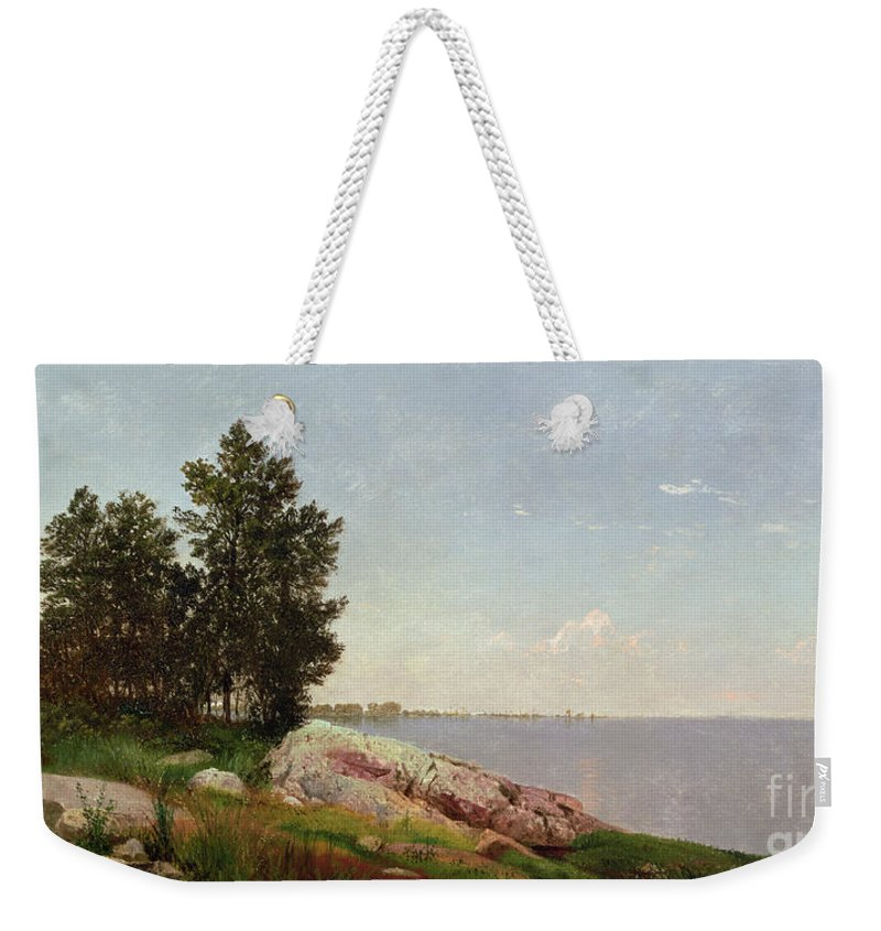 Long Island Sound At Darien (oil On Canvas) Long Island Sound At Darien (oil On Canvas) Weekender Tote Bag featuring the painting Long Island Sound At Darien by John Frederick Kensett