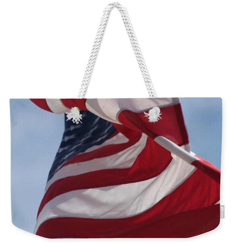 Flag Weekender Tote Bag featuring the photograph Long May She Wave by Lauri Novak