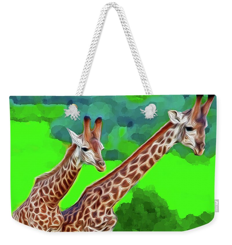 Animals Weekender Tote Bag featuring the digital art Long Necked Giraffes 3 by Bruce Iorio