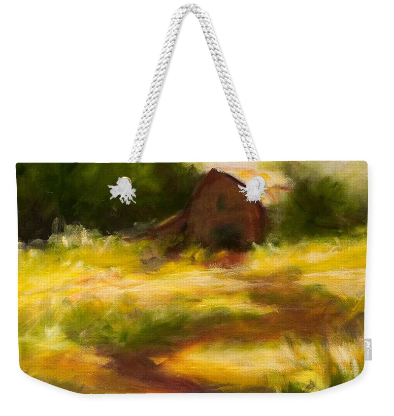Landscape Weekender Tote Bag featuring the painting Long Road Home by Shannon Grissom