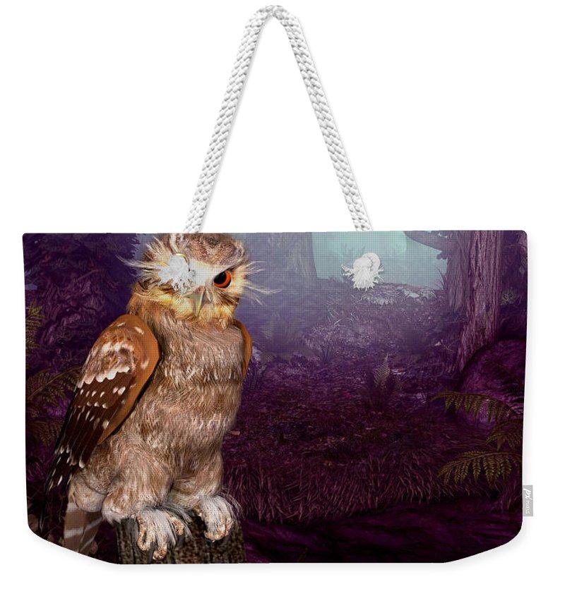 Long Whisker Owl. Animals Weekender Tote Bag featuring the digital art Long Whisker Owl by John Junek